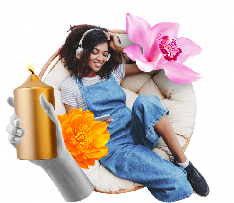 collage of woman sitting in a comfy chair with added flowers and scented candles