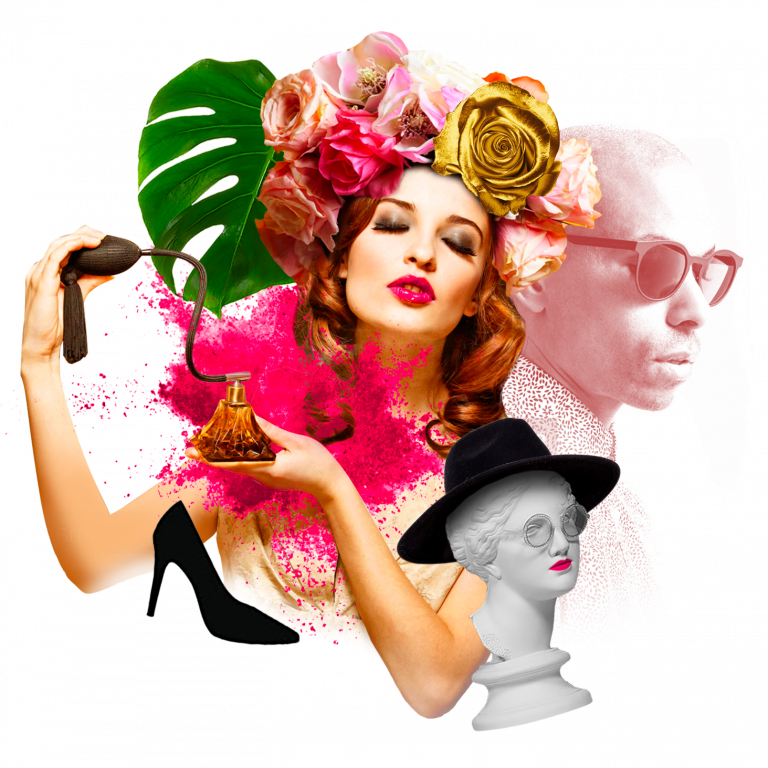 design of glamorous woman using pump perfume bottle and flowers