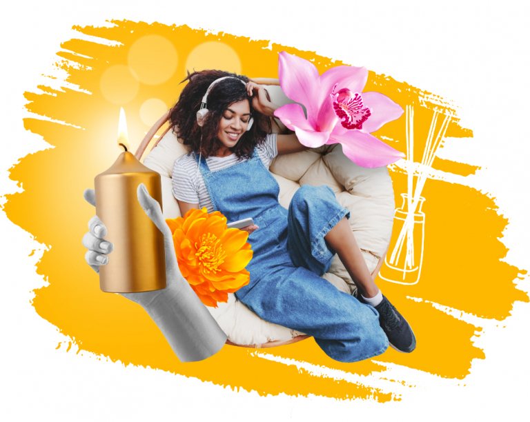 design of woman sitting in a comfy chair with added flowers and scented candles with yellow paint stroke background