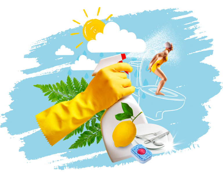 design of refreshing smelling lemon spray