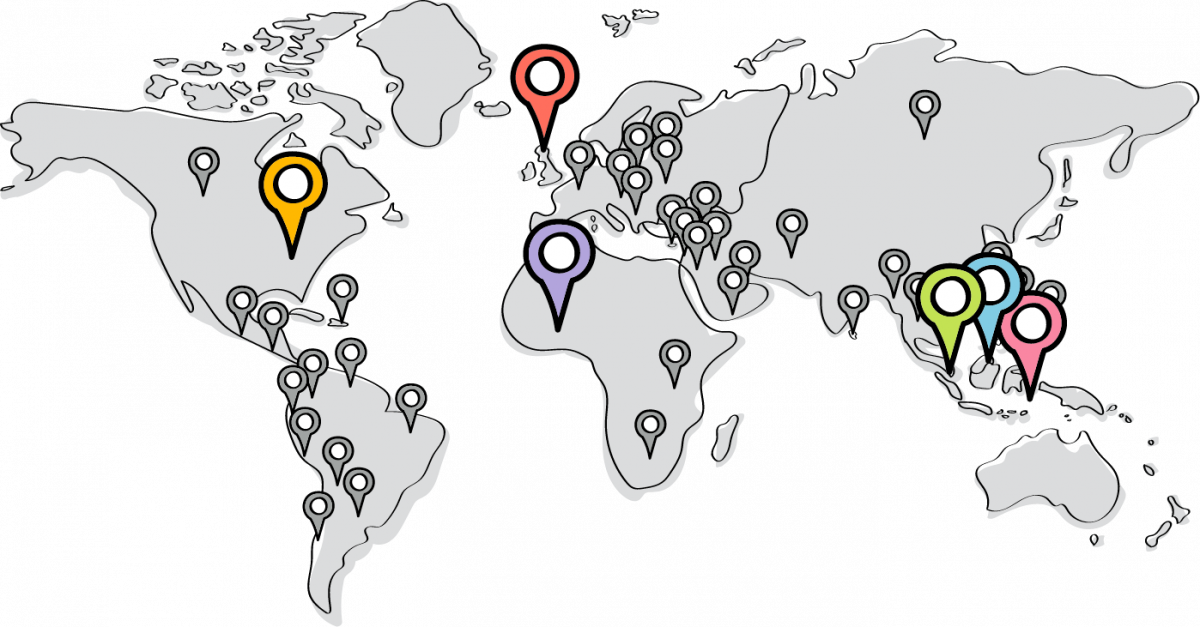 world map locations graphic