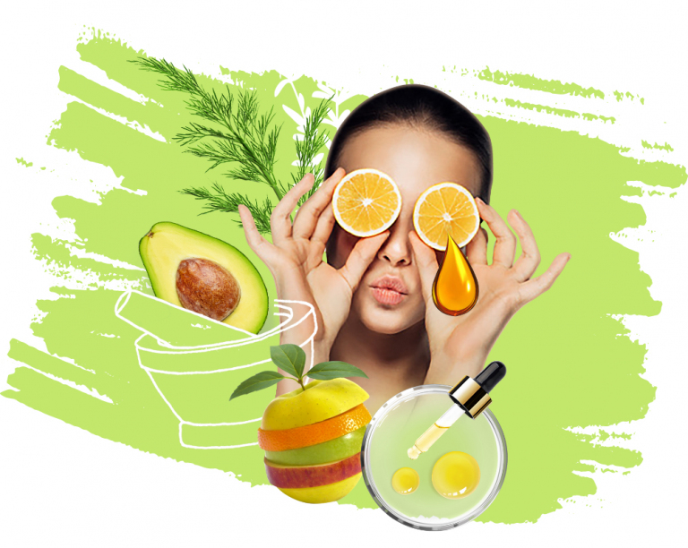 design of woman with therapeutic fruits and oils wth green avocado background