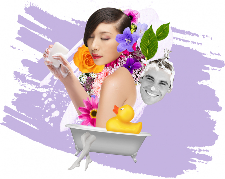 design of woman with soap and flowers in a bath