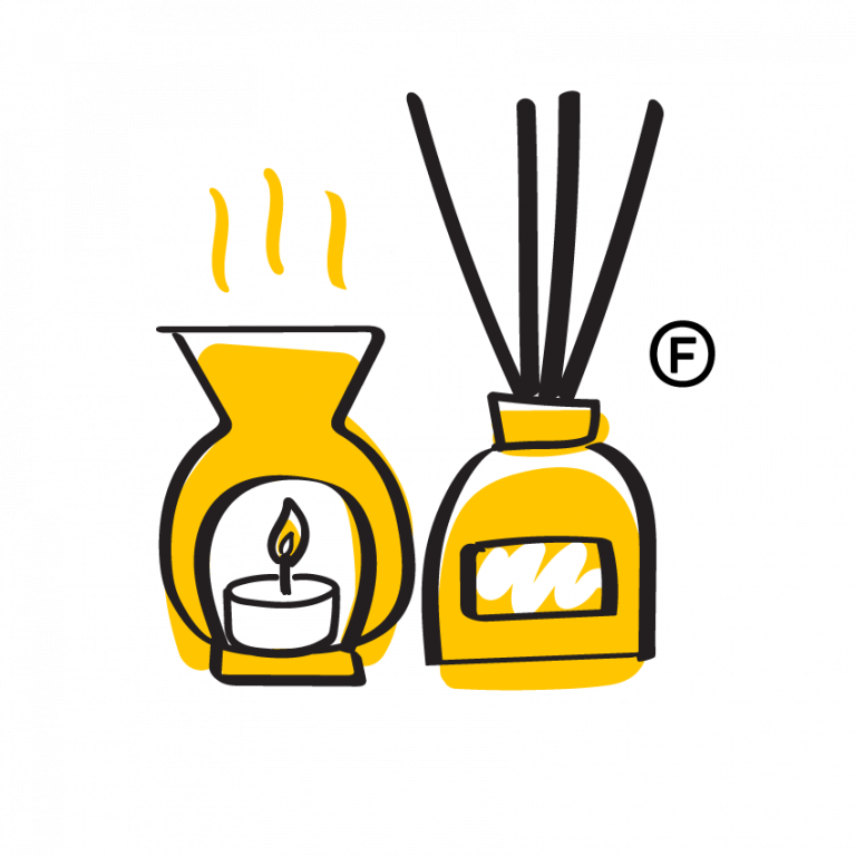 yellow illustration of: perfume, scented candle and essential oil reed diffuser